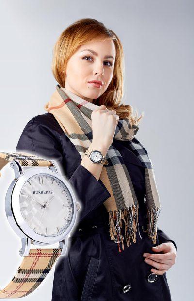 Рекламная фотосъемка часов и шарфа для рекламной компании